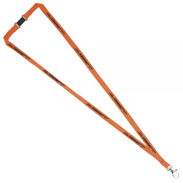 Tubular lanyard with trigger clip and safety break - 900 x 12 mm. Also available in 10 & 15 mm width.