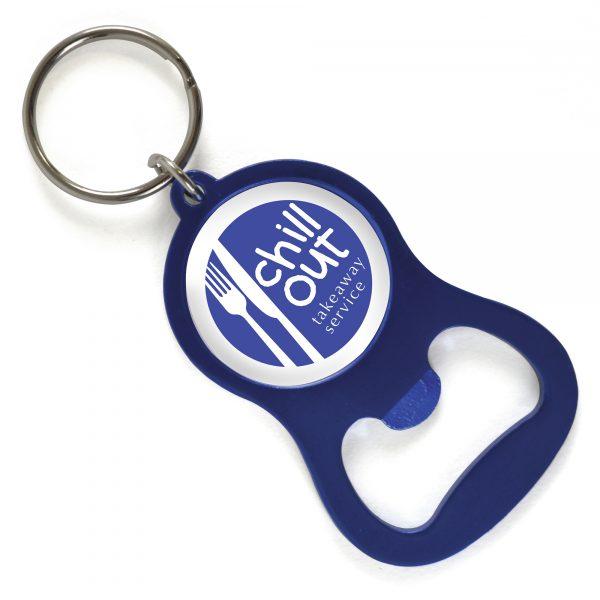 Metal keyring and bottle opener with metallic finish.
