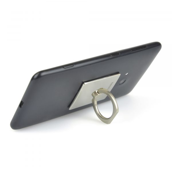 Metal ring that attaches to the back of your mobile phone to act as a stand or to use as a holder for added grip when carrying. Available in matte silver finish only.