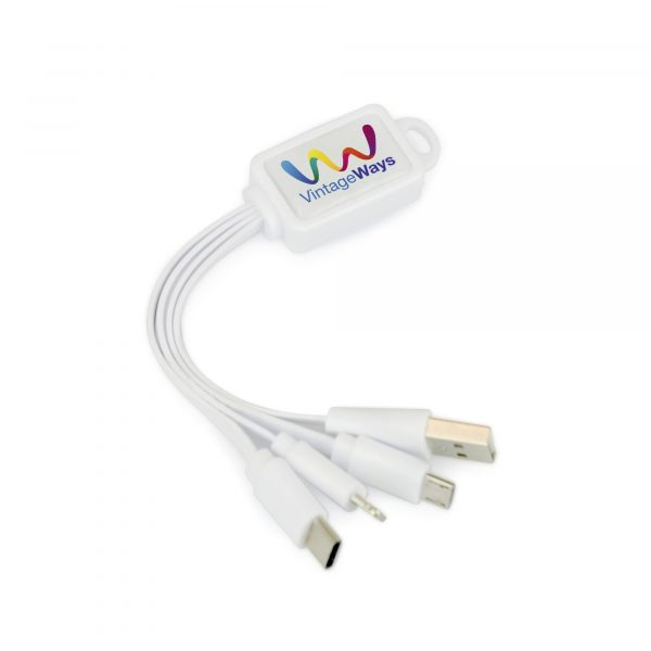 You can now have multiple device charging cables all on one cable with this plastic keyring. Includes a USB, 5 pin, type C android and micro USB connectors. Available in white.