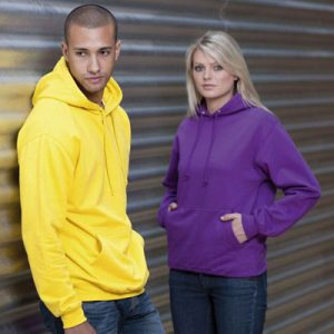 80% Cotton 20% Polyester, Double Fabric Hood, Self Colour Draw cord, Front Kangaroo Pocket,