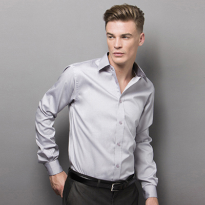 85% Cotton 15% Polyester, Tailored Fit, Fused, Stand up Collar, Two Side Pleats