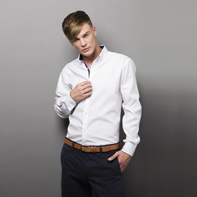 85% Cotton 15% Polyester Tailored Fit, Fused Stand Up Collar, Contrast Inner Collar.