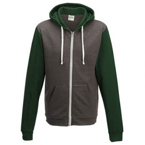 80/20 cotton polyester slim fit zoodie, 280gsm. Double fabric hood, concealed access for ear phone cord.