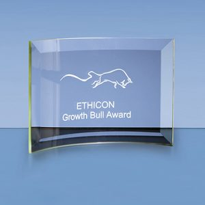 The stylish jade glass bevelled crescent is an ideal inexpensive recognition award. Price includes engraving and flat pack gift box.