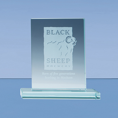The stylish rectangle award is crafted from 12mm thick jade glass and mounted on a rectangular base. Price includes engraving and foam lined gift box.