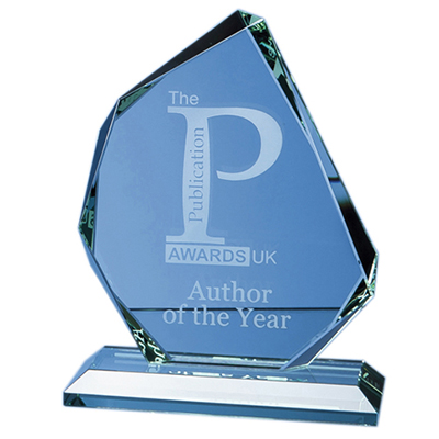 The sleek and stylish award is hand crafted our of 15mm thick jade glass. Price includes engraving and foam lined gift box.
