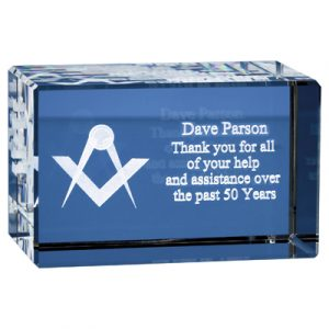 The optical crystal block can be 2D or 3D sub surface laser engraved. Price includes sub surface engraving and foam lined gift box.