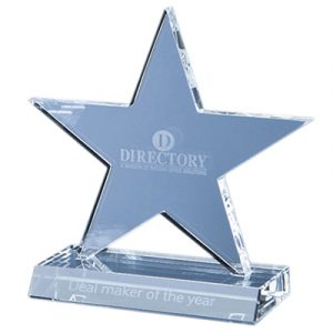 The star is hand crafted out of perfectly clear optical crystal. Price includes engraving and foam lined gift box.