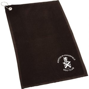 Value in Velour! Top quality 420 grams velour golf towel embroidered to your design, with a silver eyelet and a silver clip for attachment to golf bag.