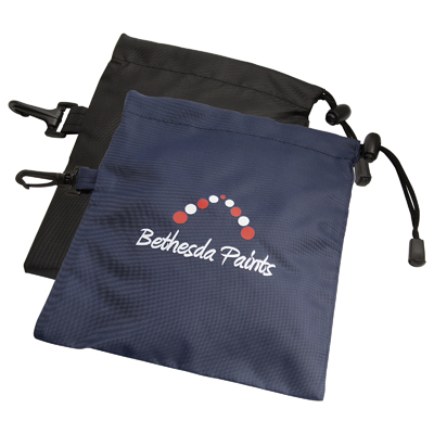 Great Value Bag! Golfer's quality nylon goody bag printed to your design, with a drawstring top and a clip for attachment to golf bag.