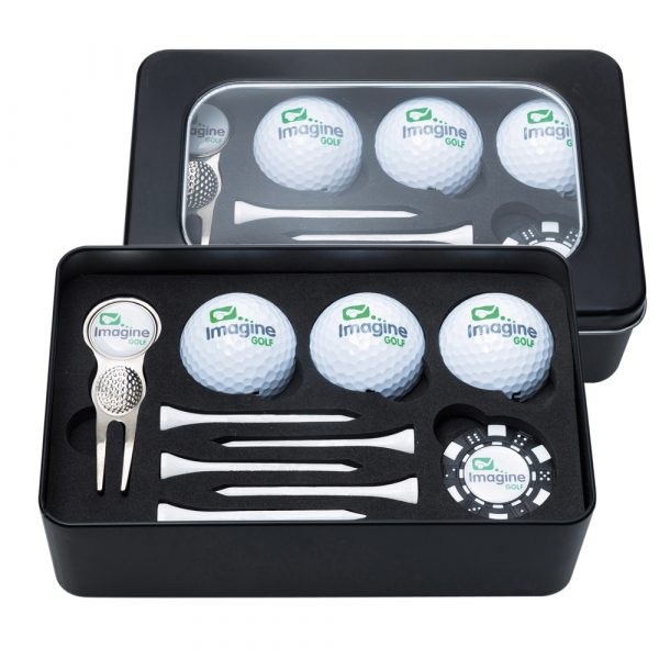 Large stylish black window tin accommodating three budget golf balls, a Quad fork with a removable ball marker and a Monaco poker chip marker printed full colour to your design with five plain white