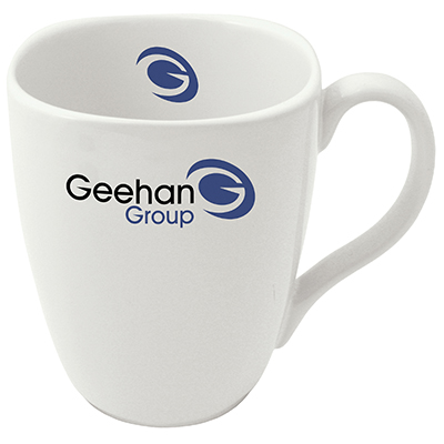 The angular lines of the Quadra mug make an attention grabbing platform for your message.
