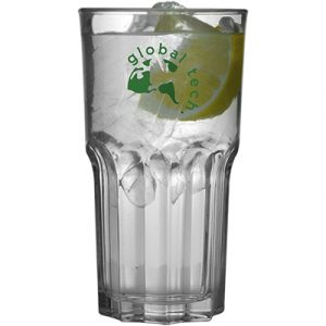 A tall strong glass with a large capacity.
