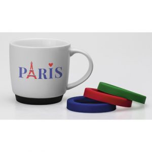 The Paris Mug is a wonderfully versatile mug which can be customised with either a Red, Blue, Green or Black Silicone rubber base. Add a splash of colour to your mug.