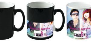 The heat reveal mug is certain to grab the attention of your audience. As you pour in a hot drink the mug begins to reveal its true colours to showcase a full colour dye sub print which is visible.