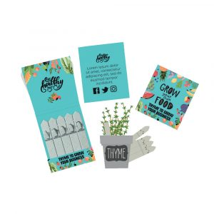 Small standard Seedsticks printed in full colour on both sides with a choice of flower, vegetable, herb or tree seeds. Also available in many different shapes & sizes at an additional cost, please contact for details.