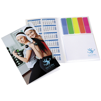 """Laminated card cover contains 5 x 25 sheet index tabs, 25 sheet 3""""x3"""" sticky note pad."""