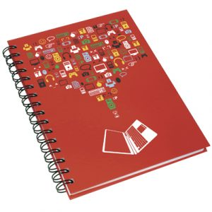 Containing 50 sheets of white paper with a hard-backed (paper over board) cover. Available in A4/A5/A6
