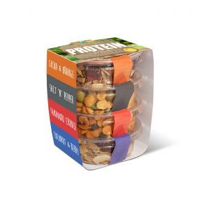 Four plastic free Eco Pots stacked and branded with a card wrap. Four healthy snack fillings inside.