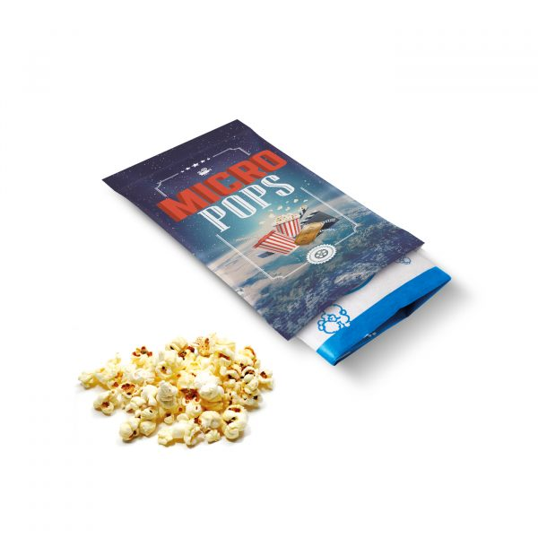 Flow wrapped microwave popcorn in full colour kraft film.