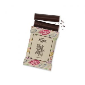 Hand crafted vegan dark chocolate wrapped in fully branded kraft film.