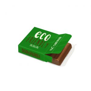 Hand crafted milk chocolate bar wrapped in clear eco film and placed in fully branded eco box.
