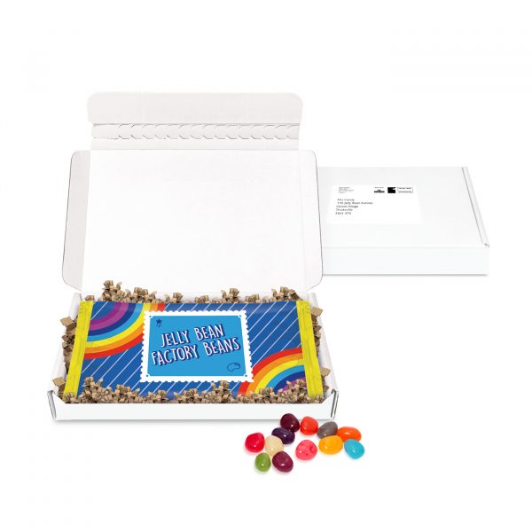 A slim white postal box that comes filled with 150g of Jelly Beans in a branded flow bag.