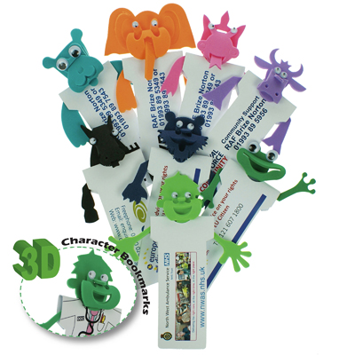 A massive range of bright coloured foam characters attached to a recycled card Bookmark printed full colour available.