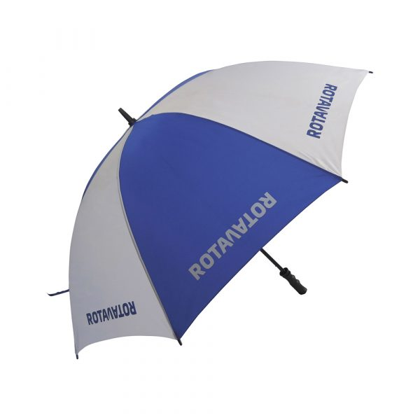 Strong and lightweight low cost fibreglass golf size umbrella. Stormproof fibreglass stem and ribs for increased flexibility and stability in windy conditions, ergonomic black pistol grip handle.
