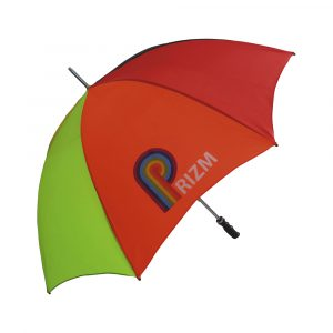 Bargain golf size umbrella with a choice of finishes. Windproof iron stem for increased flexibility and stability in windy conditions, two frame options available at no extra cost, black handle.