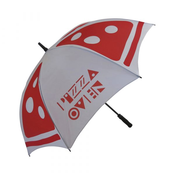 Top quality golf size automatic umbrella. Stormproof fibreglass ribs for increased flexibility and stability in windy conditions, automatic function for quicker opening, stylish EVA handle with decal.