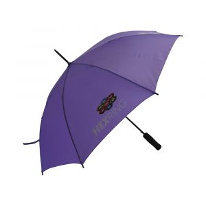 High quality, low cost modern automatic opening walking size umbrella. Black metal stem and spike with brushed metal detailing, automatic opening function for quicker opening, black eva handle