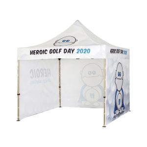 Rugged pop up gazebo available with full colour printing throughout. Strong and reliable aluminium frame with Polyester canopy and 3x Standard side walls.