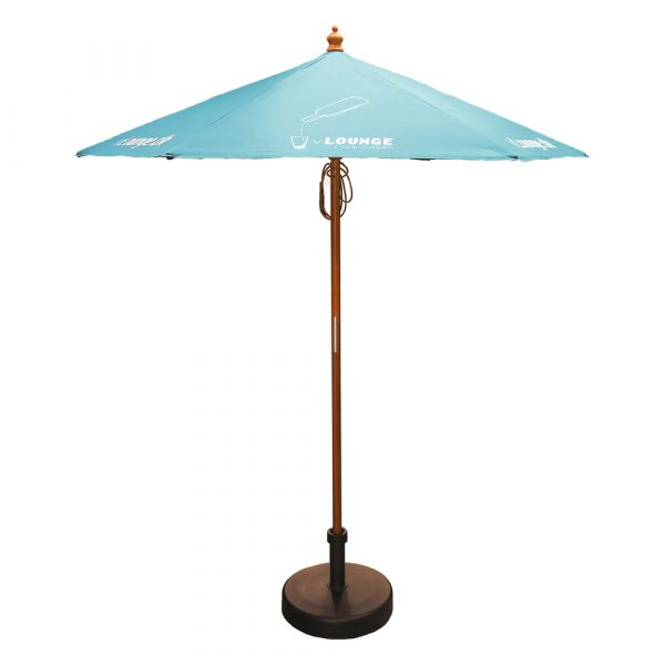 Modern six panelled parasol with heavy duty wooden stem and ribs with pull cord opening.