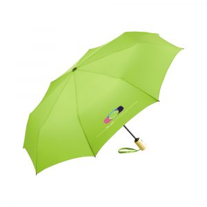 Convenient automatic open/close function for quick opening and closing, high-quality windproof system for maximum frame flexibility in stormy conditions, bamboo handle with black push-button and promo