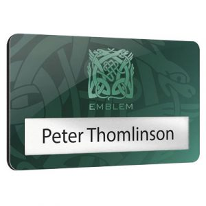 Metal faced window badges with 100% recycled black plastic back and standard fittings. Supplied with A4 sheets of plain card perforated inserts and acetate window covers for self-personalisation. Available in 2 standard sizes with 2 window depths.