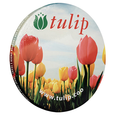 55mm diameter solid metal backed button badge with safety pin fitting. Full colour print. Easily recycled in any home or office can/metal recycling.