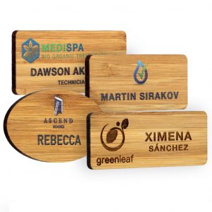 Bamboo name badges. Full colour logo, personalisation & standard fittings. Available in 6 standard sizes. Bar pin or dual pin & clip fitting as standard.