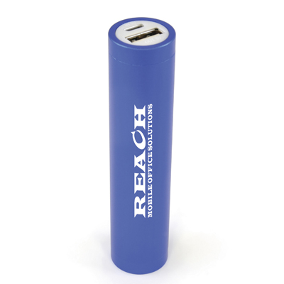 Aluminium power bank with 2600mAh capacity. Supplied with a USB cable and packaged in a white box