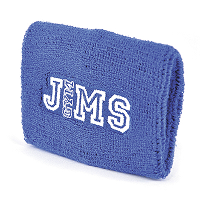 Singular towelling material, elasticated personalised wrist sweatband. Pricing Include a 5000 stitch embroidery.