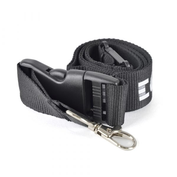 Polyester Lanyard with metal hook, plastic buckle release and safety break. Size: 10, 15, 20 or 25 mm width. Price shown is for 20 mm width