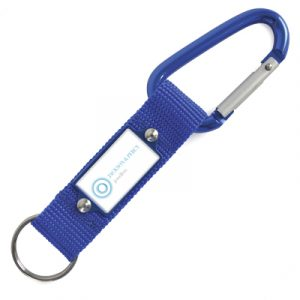 Polyester strap with carabiner and split ring. A different robust keyring, great for outdoors.