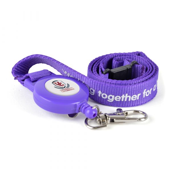 Polyester lanyard with metal hook and retractable ski pass holder.