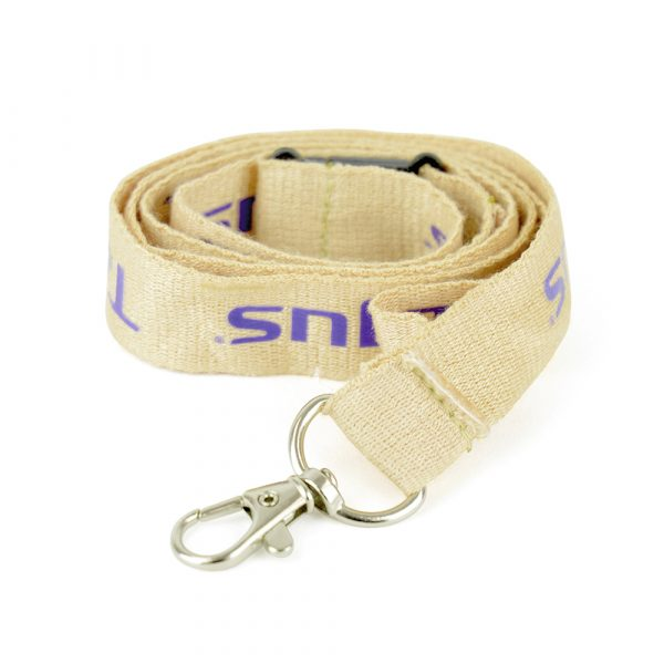 Bamboo material lanyard with a safety break and trigger clip for attaching a pass. A useful, eco-minded giveaway. Can be Pantone matched, please call the sales office for details