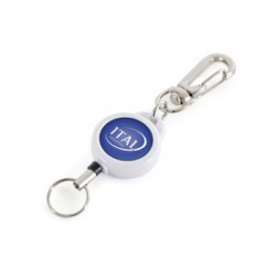 Plastic retractable ID holder with a metal trigger clip and split ring attachment. Ideal for holding ID cards & security passes.