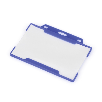 Plastic card and pass holder with cut out hole to attach to a lanyard. Available in 5 colours.