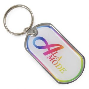 Metal dog tag keyring with split ring attachment
