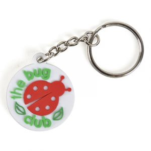 Small PVC keyring fully bespoke and Pantone matched up to 30 x 30 mm.