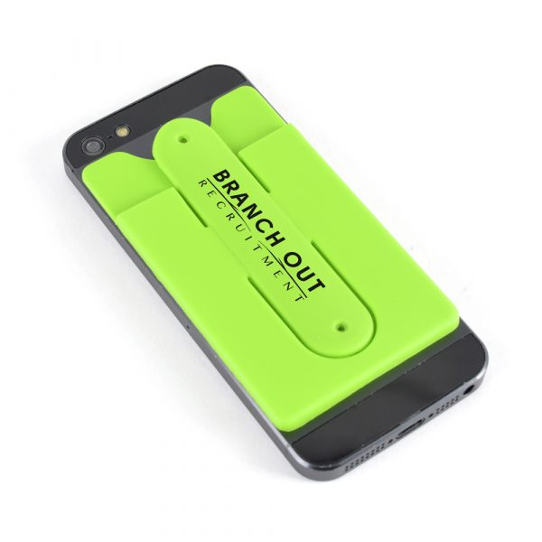 Combination phone pocket and stand, attaches to a phone to store cards and doubles as a stand. Made of silicone and available in various colours.